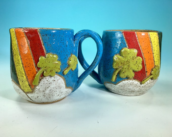 Rainbow, Clouds and Shamrocks Mug // Hand-Carved St Patrick's Day Mug // Handmade Ceramic Mug // Spring // Pride // Love - READY TO SHIP
