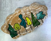 Tree platter - handbuilt plate with painted tree detail // handmade serving plate // spring trees - READY TO SHIP