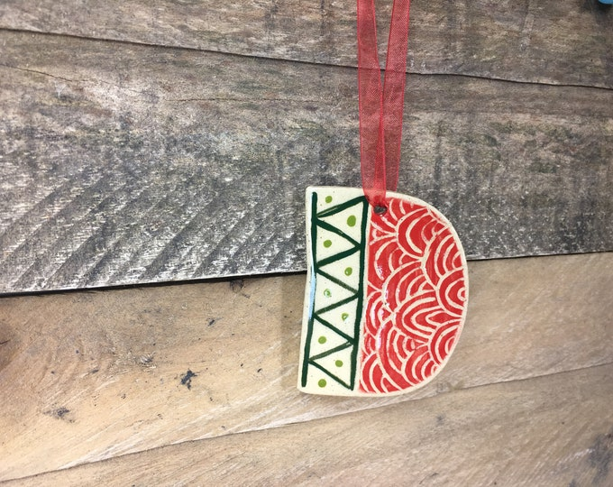Ornament - D - Ceramic Initial  / Alphabet Letter Ornament / Monogram - READY TO SHIP