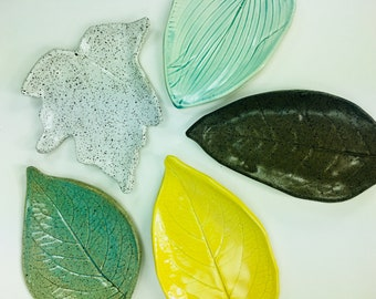 Large Leaf Plate Trinket Dish // For Tea Bag, Spoon Rest, Candle Holder, Soap Dish or Jewelry Catchall // Gifts for Her - READY TO SHIP