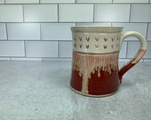 Red and White Mug with Carved Heart Detail // Valentines Day // Hearts // Love // Wheel-Thrown - READY TO SHIP