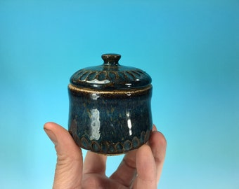 Small Blue Jewelry Box, Hand-Carved // Wheel-Thrown Ceramic Box, Jewelry or Ring Box // Engagement or Wedding Gift - READY TO SHIP