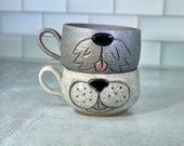 Dog Face Mug // Latte Style Mug with Carved Dog Face Design // Dog Puppy // Handmade Pottery, Red and White // Wheel-Thrown - READY TO SHIP