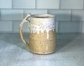 Handmade Coffee Mug or Beer Stein // white and beige drip tall mug // Handmade Pottery // Wheel-Thrown - READY TO SHIP