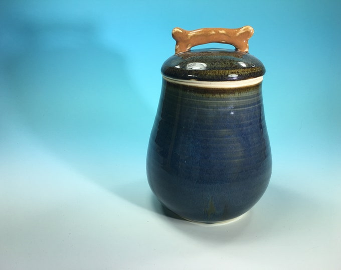 Handmade Treat Jar for Dog Treats or Food with Sculpted Bone Handle in Denim Blue // Ceramic Cookie Jar // Gifts for Dogs - READY TO SHIP