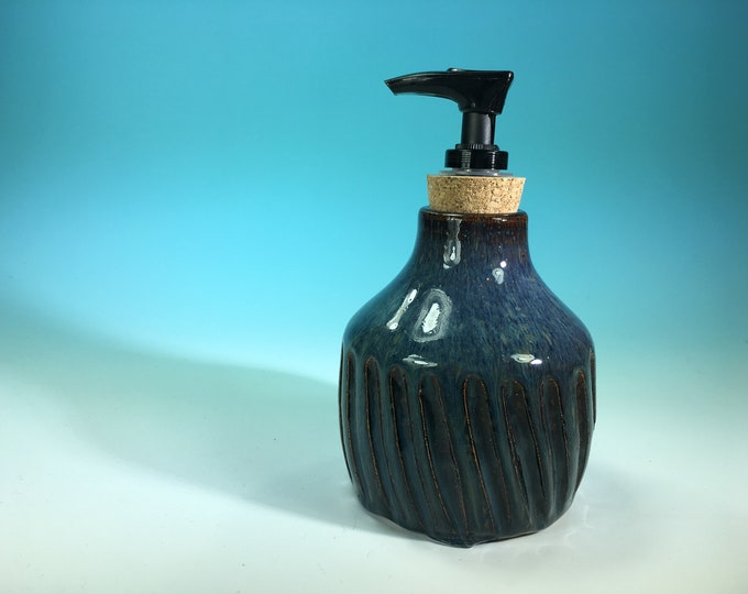 Denim Blue Soap Bottle Hand-Carved with Pump Dispenser // Handmade Pottery, Wheel-Thrown // Housewarming or Wedding Gifts - READY TO SHIP