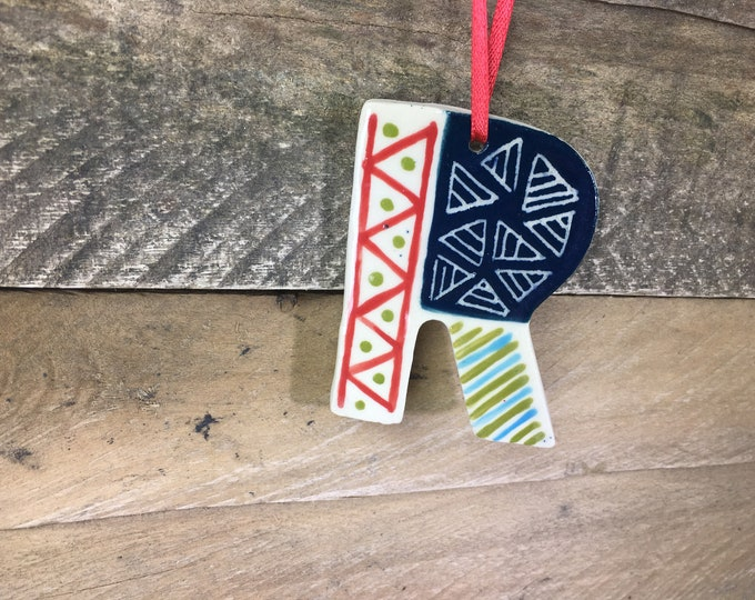Ornament - R - Ceramic Initial / Alphabet Letter Ornament / Monogram - READY TO SHIP