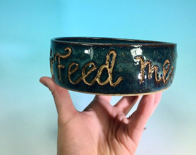Feed Me Human Medium Denim Blue  Hand-Carved Pet Bowl  // Medium Handmade Dog Food Dish // Gifts for Pet Lovers - READY TO SHIP
