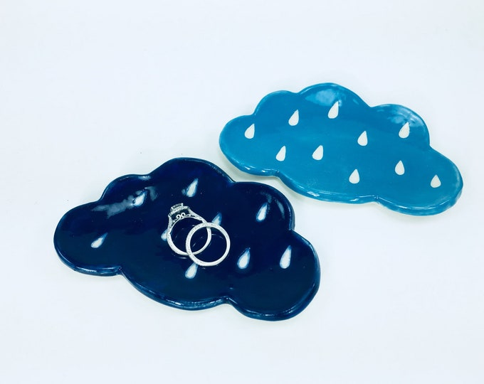Cloud-Shaped Trinket Dish in Blue // Spoon Rest, Candle Holder, Jewelry Tray or Soap Dish // Gifts for Valentines - READY TO SHIP