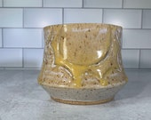 Hand-Carved Yellow Sun Planter with Drainage // Wheel-thrown Planter // Handmade Ceramic Flower Pot // Spring // Summer - READY TO SHIP