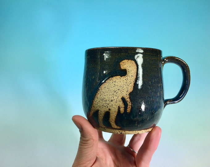 Dinosaur Silhouette Mug in Matte Gray // Mug with TRex and Triceratops // Gifts for Geeks, Historians, Dinosaur Lovers  - READY TO SHIP