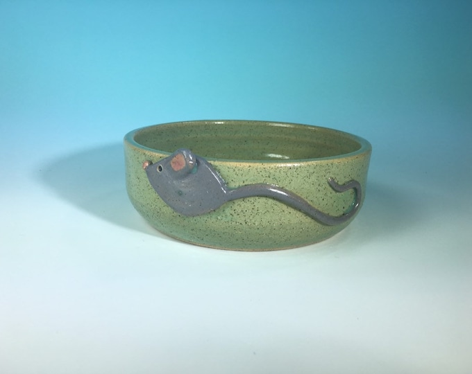 Turquoise Cat Bowl with Sculpted Gray Mouse // Medium Handmade Cat Food Dish // Gifts for Cats or Cat Lovers- READY TO SHIP