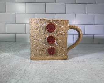 Lace Textured Mug in Beige with Button Detail // Hand-built Mug - READY TO SHIP