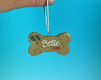 Ornament, Bone - Personalize with your pet's name - READY TO SHIP