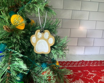 Ceramic Paw Print Ornament, Personalize with your pet's name - cat - dog -- READY TO SHIP