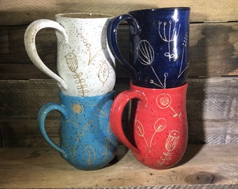 Carved Ceramic Mug / Stein / Hand-painted and carved / floral doodle mugs - READY TO SHIP