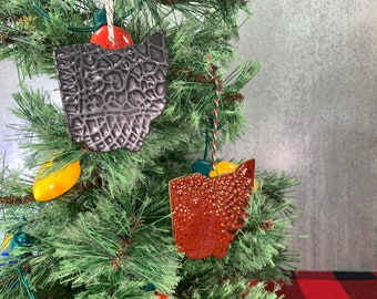Ohio Ornament with Lace Texture // Ohio Christmas Ornament – READY TO SHIP
