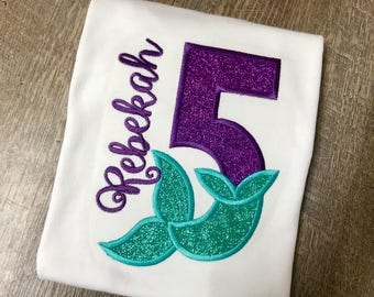 Mermaid Birthday Shirt Personalized 5th Tee Party Fifth Outfit Purple And Teal Applique