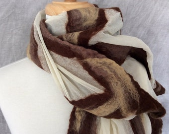Merino Wool Silk Scarf, Nuno Felted Scarf, Felted Wool Scarf Brown Tan Stripes