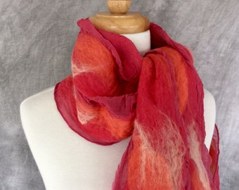Nuno Felted Scarf Felted Wool and Silk Scarf Hot Pink Stripes
