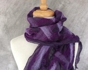 Nuno Felted Scarf Felted Wool and Silk Scarf Purple Lattice