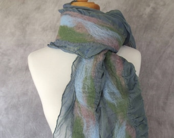 Nuno Felted Scarf Felted Wool and Silk Scarf Gray Green with Blue, Blue, Green Stripes