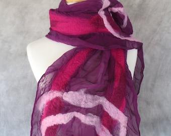 Nuno Felted Scarf Felted Wool and Silk Scarf Magenta Silk Ruby Stripes Pink Swirls