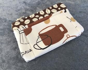 Wallet Coin Purse Card Carrier Brown, Tan, White Cafe Theme