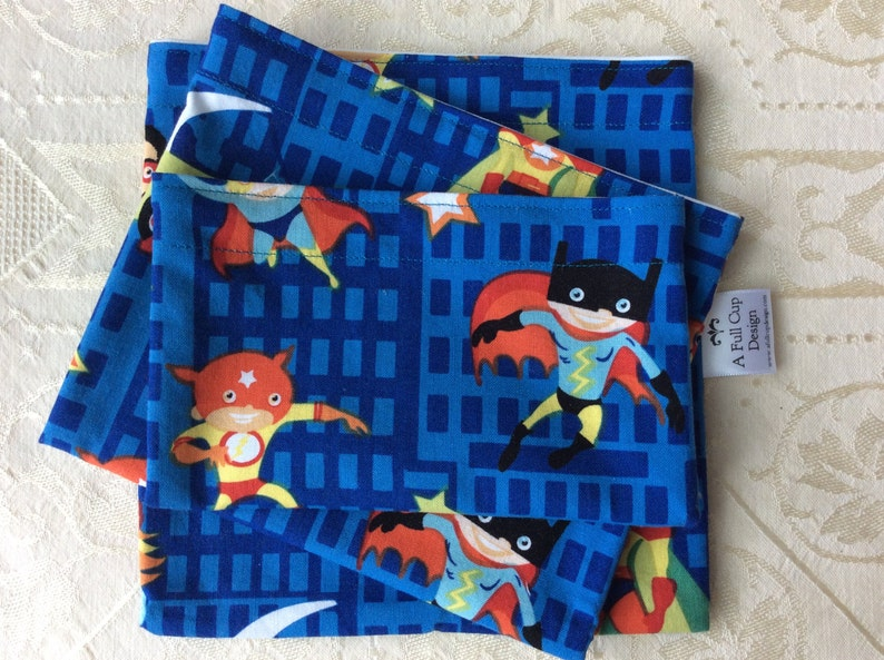 Reusable Sandwich Snack Bags with Food Safe Lining Superheroes image 1