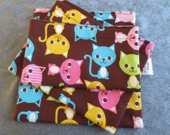 Reusable Sandwich Bags, Snack Bags, Food Safe Fabric Lining Colorful Cats