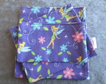Snack Bags Reusable with Food Safe Lining Fairies and Flowers