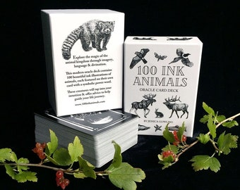 100 INK ANIMALS oracle deck - Animal Oracle Cards - 3 options - Nature Guide Oracle Animal Medicine Tarot Cartomancy Divination