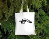 Skunk Tote - Striped Skunk Illustrated Cotton Tote Bag - Book Bag - Gift for Animal Lover - skunky - Canadian Mammal Canadian Wildlife