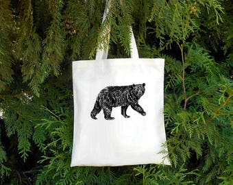 Bear Tote Bag -  Illustrated Cotton Tote Bag - Book Bag - Gift for Animal Lover - Black Bear - Bear Lover Bear Bag Groccery Bag Cotton Tote