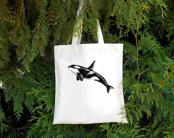 Orca Tote Bag - Killer Whale Tote Bag - Whale Illustrated Cotton Tote Bag - Book Bag - Gift for Animal Lover - Gift for Marine Biologist