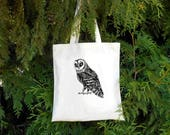 Barn Owl Tote Bag -  Illustrated Cotton Tote Bag - Book Bag - Gift for Animal Lover Gift for Birder - Black and White tote bag Bird Birders