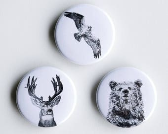 """Osprey, Deer Bear Pins - Forest Friends Pin-Back Buttons - Set of 3 Pin-Back Buttons - 1.5"""" - Woodland pin Animal pin Pingame Badges"""