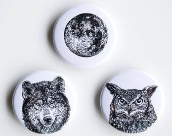 "Wolf, owl, moon pins - night creatures Pin-Back Buttons - Set of 3 Pin-Back Buttons - 1.5"" - Woodland pin Animal pin Pingame Badges"