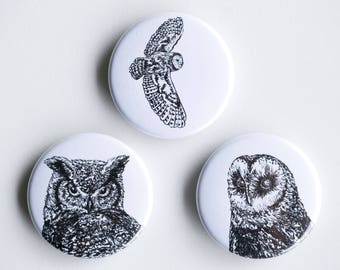 """Owl pins - bard owl horned owl Pin-Back Buttons - Set of 3 Pin-Back Buttons - 1.5"""" - Woodland pin Animal pin Pingame Badges"""