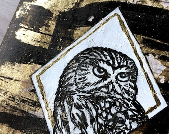 Pygmy Owl Moleskine Journal One of a Kind Hand-Painted Moleskine Journal with Gold Leaf - Sketchbook Journal Cahier Large Owl Birder