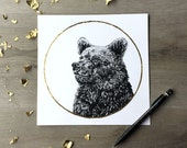 Grizzly Bear Strawberry Moon June- Print of original Graphite Drawing with Gold Leaf  Animal Portrait Bear Print Woodland Print Gold