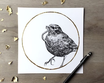 Robin Earthworm Moon March Print of Original Graphite Drawing with Gold Leaf - Animal Portrait Bird Print Robin Print Gold Bird