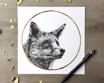 Red Fox & Gold Moon - Print of Original Graphite Drawing with Hand-Embellished Gold Leaf
