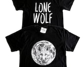 LONE WOLF TEE - Black Cotton Unisex T-Shirt - Wolf Full Moon Shirt - Full Moon Tee - Black Tee - Goth Tee - Black & White - Wolf howling