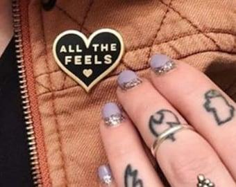 ALL THE FEELS Enamel Pin Lapel Pin Hard Enamel Pin Pin Game Pingame black and gold flair animal pin heart shaped pin heart pin emotional
