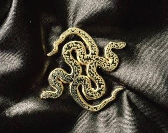 Twin Snakes - Gold and Black Enamel Pin Animal Lapel Pin Hard Enamel Pin Pin Game Pingame black and gold flair animal pin