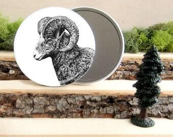 "Ram Pocket Mirror - Big Horned Ram Canadian Gift - Animal Pocket Mirror 3.5"" - Large Make Up Mirror - Gift under 10 dollars Girl Gift"