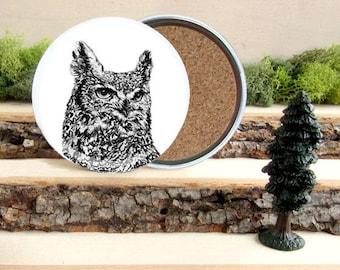 Owl Coaster Set - Horned Owl Home Decor - Gift for Animal Lover or Outdoorsman Guy Gift - Cork-Bottom Coaster Set