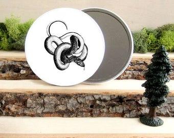 """Snake Pocket Mirror - snake creepy Gift - Animal Pocket Mirror 3.5"""" - Large Make Up Mirror - Gift under 10 dollars Girl Gift"""