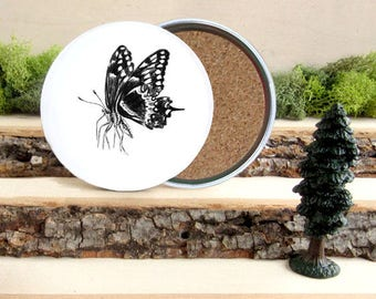 Butterfly Coaster Set - Home Decor - Gift for Animal Lover or Gardener - Cork-Bottom Coaster Set of 4  - Butterflies